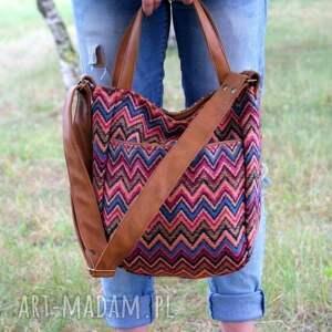 torba na ramię kolorowe miniks vege etno rudy