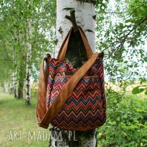 atrakcyjne na ramię torba miniks vege etno rudy