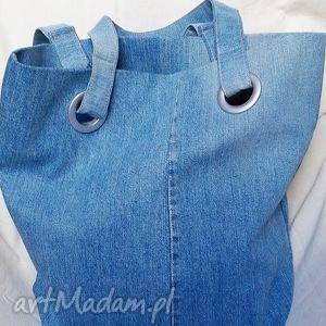 wyjątkowe na ramię torba niebieska z recyklingu jeansu