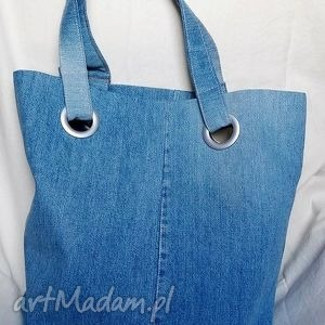 niebieskie na ramię torba niebieska z recyklingu jeansu