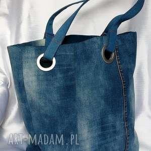 wyjątkowe na ramię recykling niebieska torba z recyklingu jeansu