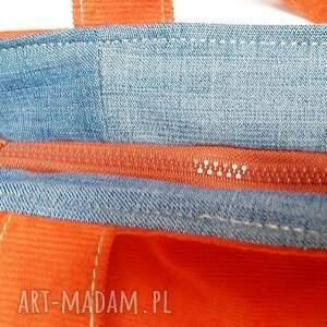 recykling na ramię nierozłączny komplet z jeansu i sztruksu