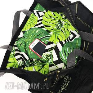 handmade na ramię upcykling jeans duża torba
