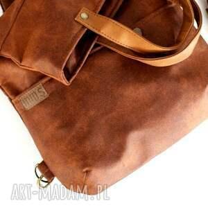 wyjątkowe na ramię torebka 3w1 plecako - torba koniak vegan