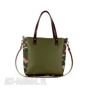zielone na ramię torebka damska oliwkowa z moro