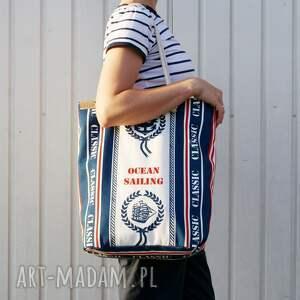 na ramię: Owal shopper marynarskie płótno - lato morze
