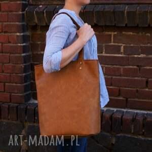 handmade na ramię torba owal vegan rudy
