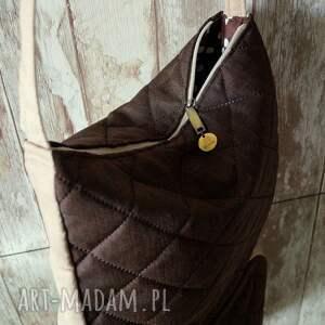 brązowe na ramię torebka pikowana torba hobo w brązie