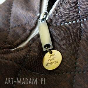 jesienna na ramię pikowana torba hobo w brązie