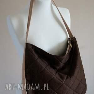 eleganckie na ramię torebka pikowana torba hobo w brązie