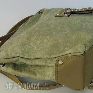 297342aec7ae4 unikalne na ramię, torebki - pistacjowa torba z kieszeniami - fizka