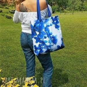 frapujące na ramię impregnowana plażowa duża torba w niebieskie