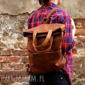 na ramię torebka na 3w1 plecako - torba koniak vegan