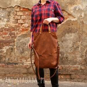 pomarańczowe na ramię zamsz ciekawe połączenie torby i plecaka, idealne