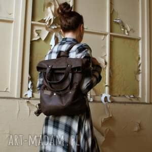 ManufakturaMMS na ramię: 3w1 plecako - torba czekolada vegan - podróż plecak