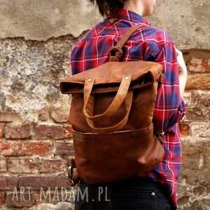 brązowe na ramię plecak 3w1 plecako - torba koniak vegan