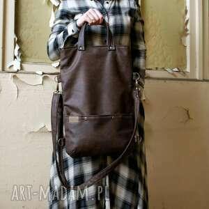 hand made na ramię vegan 3w1 plecako - torba czekolada