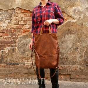 trendy na ramię torebka 3w1 plecako - torba koniak vegan