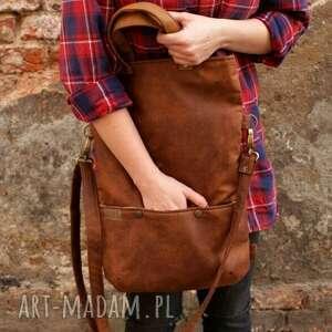 wyjątkowe na ramię torebka na 3w1 plecako - torba koniak vegan