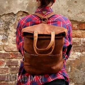 torebka na ramię 3w1 plecako - torba koniak vegan