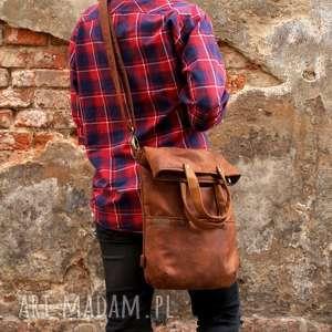 wyjątkowe na ramię zamsz 3w1 plecako - torba koniak vegan