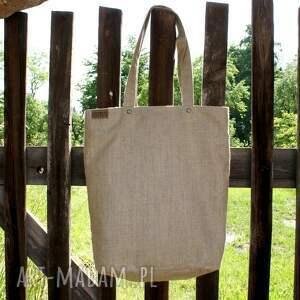 ręcznie zrobione na ramię torba shopper vegan len