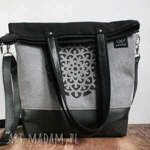 81736155f4522 handmade na ramię torba-kobieca szaro czarna torba mandala