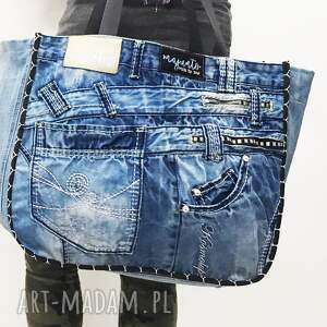 handmade na ramię jeans duża torba upcykling 22