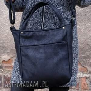 handmade na ramię torebka miniks vegan czerń nubuk