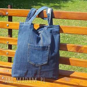 unikalne na ramię torba prosta ciemna jeansowa