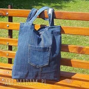 na ramię torebka prosta ciemna torba jeansowa