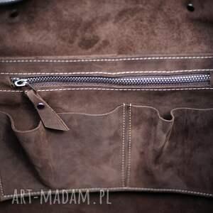 shopperka na ramię ręcznie robiona skórzana torebka
