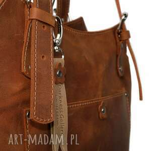 brązowe na ramię shopperka ręcznie robiona skórzana torebka