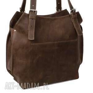 awangardowe na ramię shopperka ręcznie robiona skórzana torebka
