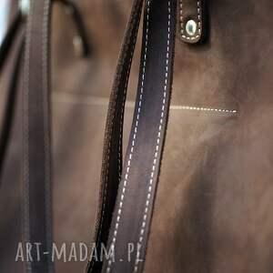 na ramię shopperka ręcznie robiona skórzana torebka