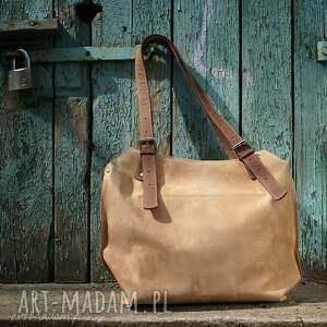 7db4349796093 brązowe na ramię shopperka ręcznie robiona skórzana torebka