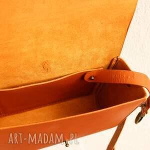 pomarańczowe na ramię torebka ręcznie wykonana skórzana