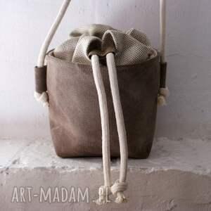 handmade na ramię mini safari basket len plecionka