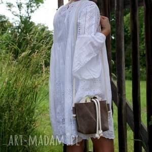 na ramię: Safari basket mini len lipa - lato torebka