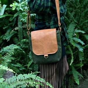 na ramię torba safari vegan zieleń rudy