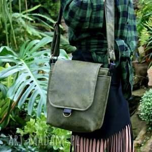 ręcznie robione na ramię torba safari vegan zieleń czerń