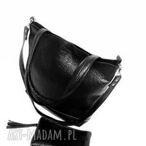 na ramię czarna shopper bag