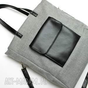 pomysł na świąteczny upominek shopper bag - tkanina szara i skóra