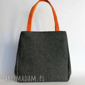 na ramię elegancka shopper bag worek - tkanina dark