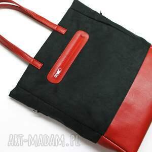 pod choinkę elegancka shopper bag - zamsz czarny i skóra