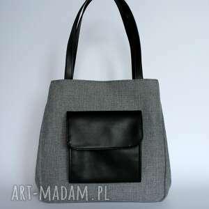 awangardowe na ramię elegancka shopper bag worek - tkanina szara