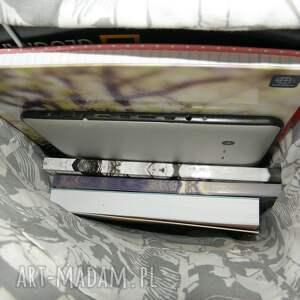 hand made na ramię laptop shopper bag niebieskie róże - skóra