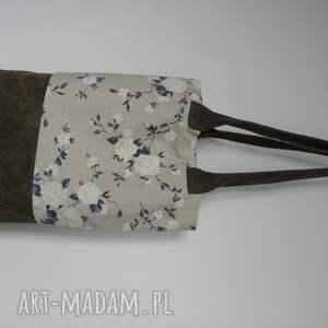 skóra na ramię niebieskie shopper bag róże
