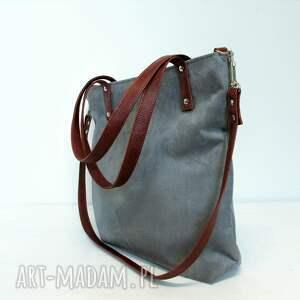 szara na ramię szare shopper bag