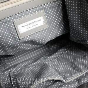 Shopper Bag Worek - tkanina szara i skóra czarna - elegancka nowoczesna